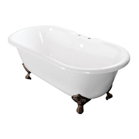 Aqua Eden VCT7D603017NB5 60-Inch Cast Iron Double Ended Clawfoot Tub with 7-Inch Faucet Drillings, White/Oil Rubbed Bronze