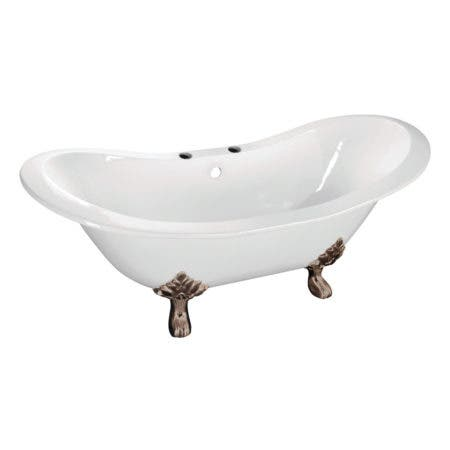Aqua Eden VCT7DS6130NC8 61-Inch Cast Iron Double Slipper Clawfoot Tub with 7-Inch Faucet Drillings, White/Brushed Nickel