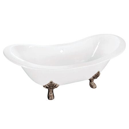 Aqua Eden VCTNDS6130NC8 61-Inch Cast Iron Double Slipper Clawfoot Tub (No Faucet Drillings), White/Brushed Nickel