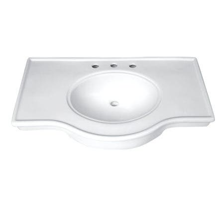 "Fauceture VPB1378B Templeton 37"" x 22"" Ceramic Console Sink Basin, White"