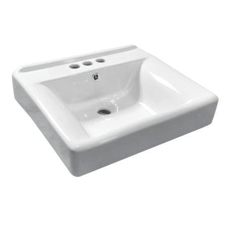 Fauceture EV2018W34 Concord Recessed Bathroom Sink, 4-Inch, 3-Hole, White