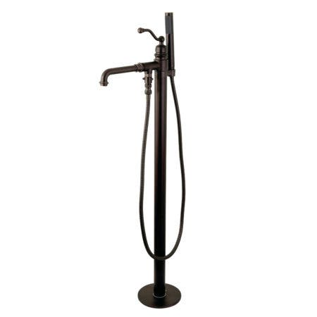Kingston Brass KS7035ABL English Country Single Handle Freestanding Roman Tub Filler with Hand Shower, Oil Rubbed Bronze