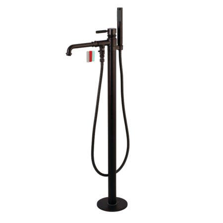 Kingston Brass KS7035DKL Paris Single Handle Freestanding Roman Tub Filler with Hand Shower, Oil Rubbed Bronze