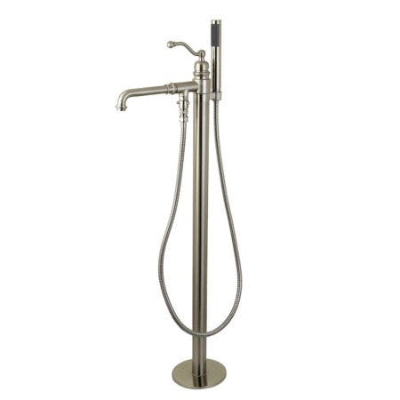Kingston Brass KS7038ABL English Country Freestanding Tub Faucet with Hand Shower, Brushed Nickel
