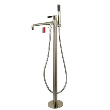 Kingston Brass KS7038DKL Kaiser Freestanding Tub Faucet with Hand Shower, Brushed Nickel