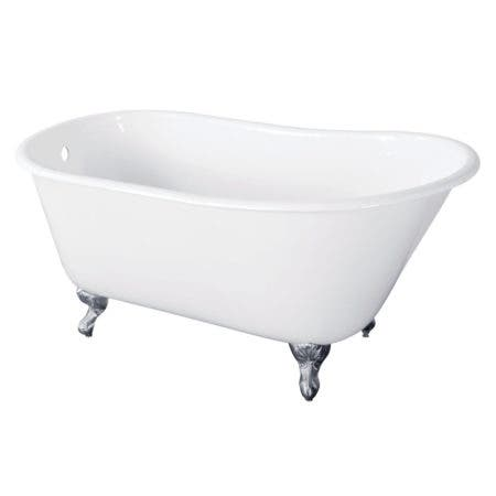 Aqua Eden VCTND5728NT1 57-Inch Cast Iron Slipper Clawfoot Tub without Faucet Drillings, White/Polished Chrome