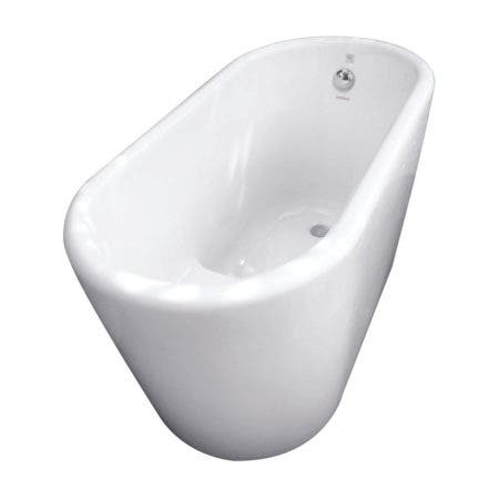 Aqua Eden VTDE512628 51-Inch Acrylic Freestanding Tub with Drain and Step Seat, White