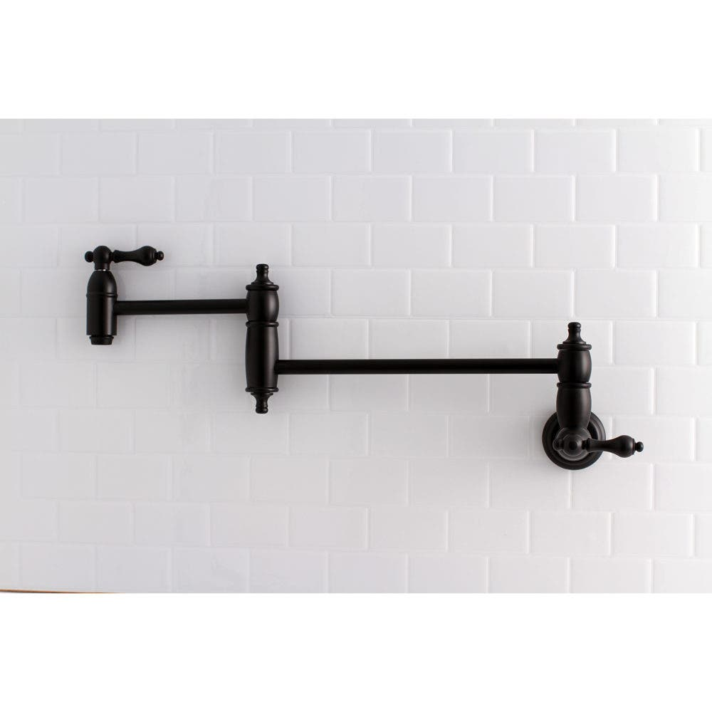 KS3100AL Wall Mount Pot Filler Faucet, Matte Black