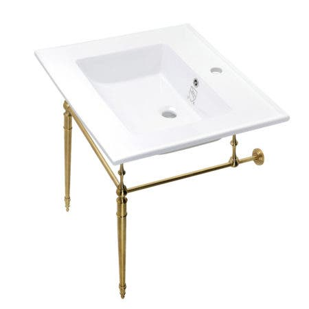 Kingston Brass KVPB252271BB Edwardian 25-Inch Console Sink with Brass Legs (Single Faucet Hole), White/Brushed Brass
