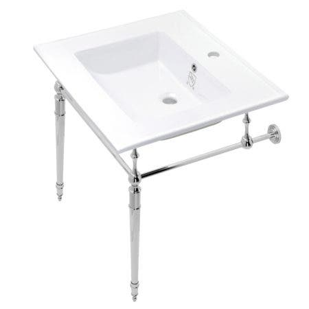 Kingston Brass KVPB252271CP Edwardian 25-Inch Console Sink with Brass Legs (Single Faucet Hole), White/Polished Chrome