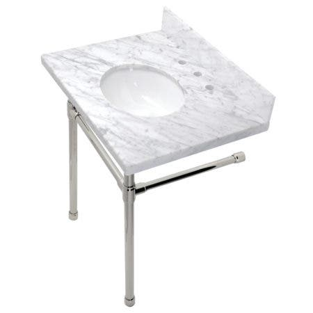 """Kingston Brass KVPB30M86ST Dreyfuss 30"""" x 22"""" Carrara Marble Vanity Top with Stainless Steel Legs, Marble White/Polished Nickel"""