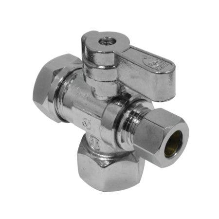 "1/2"" FIP x 3/8"" O.D. Comp x 1/2"" & 7/16"" O.D. Slip Joint Shut Off Valve"
