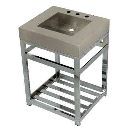 """Kingston Brass KVSP2522A1 Fauceture 25"""" Stainless Steel Sink with Steel Console Sink Base, Brushed/Polished Chrome"""