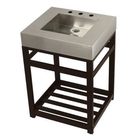 "Kingston Brass KVSP2522A5 Fauceture 25"" Stainless Steel Sink with Steel Console Sink Base, Brushed/Oil Rubbed Bronze"