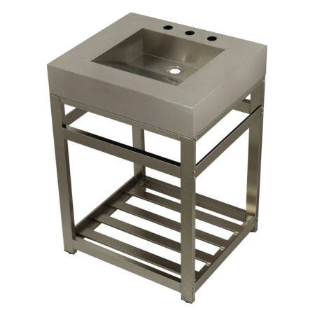 "Kingston Brass KVSP2522A8 Fauceture 25"" Stainless Steel Sink with Steel Console Sink Base, Brushed/Brushed Nickel"