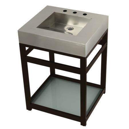 "Kingston Brass KVSP2522B5 Fauceture 25"" Stainless Steel Sink with Steel Console Sink Base, Brushed/Oil Rubbed Bronze"