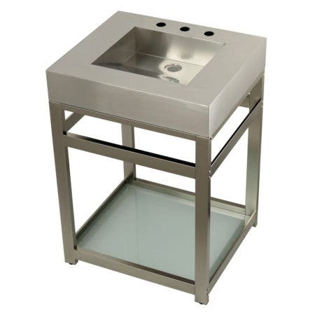 "Kingston Brass KVSP2522B8 Fauceture 25"" Stainless Steel Sink with Steel Console Sink Base, Brushed/Brushed Nickel"