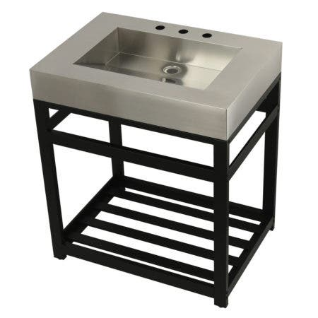 "Kingston Brass KVSP3122A0 Fauceture 31"" Stainless Steel Sink with Steel Console Sink Base, Brushed/Matte Black"