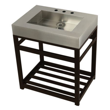 """Kingston Brass KVSP3122A5 Fauceture 31"""" Stainless Steel Sink with Steel Console Sink Base, Brushed/Oil Rubbed Bronze"""