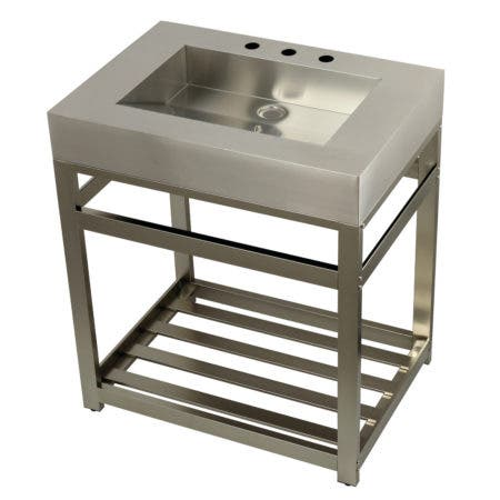 "Kingston Brass KVSP3122A8 Fauceture 31"" Stainless Steel Sink with Steel Console Sink Base, Brushed/Brushed Nickel"
