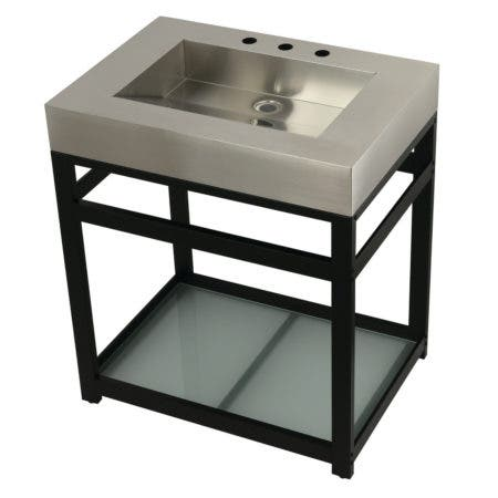 "Kingston Brass KVSP3122B0 Fauceture 31"" Stainless Steel Sink with Steel Console Sink Base, Brushed/Matte Black"