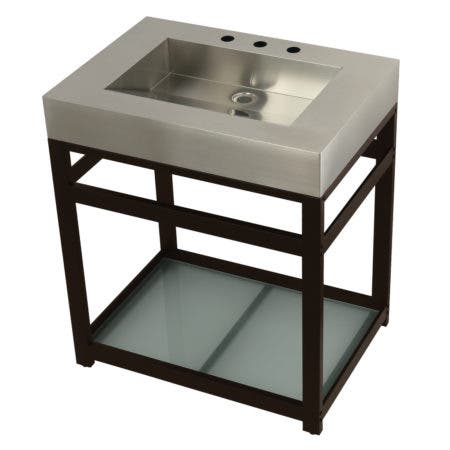 "Kingston Brass KVSP3122B5 Fauceture 31"" Stainless Steel Sink with Steel Console Sink Base, Brushed/Oil Rubbed Bronze"