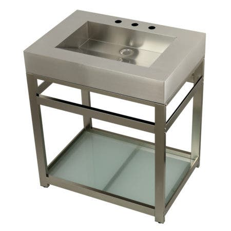 "Kingston Brass KVSP3122B8 Fauceture 31"" Stainless Steel Sink with Steel Console Sink Base, Brushed/Brushed Nickel"