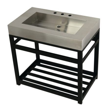 "Kingston Brass KVSP3722A0 Fauceture 37"" Stainless Steel Sink with Steel Console Sink Base, Brushed/Matte Black"