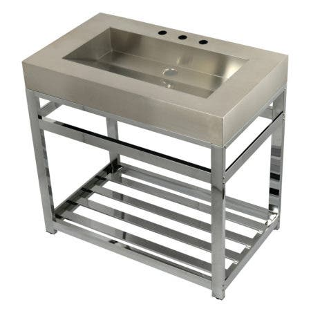 "Kingston Brass KVSP3722A1 Fauceture 37"" Stainless Steel Sink with Steel Console Sink Base, Brushed/Polished Chrome"