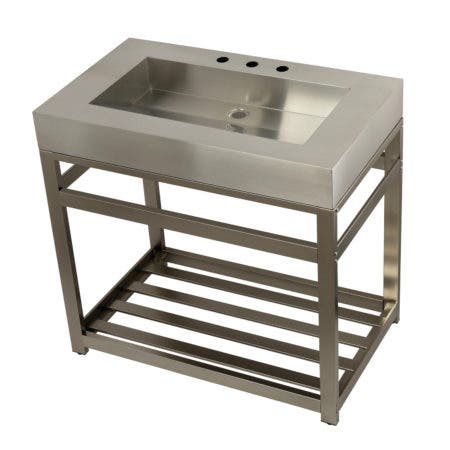"""Kingston Brass KVSP3722A8 Fauceture 37"""" Stainless Steel Sink with Steel Console Sink Base, Brushed/Brushed Nickel"""