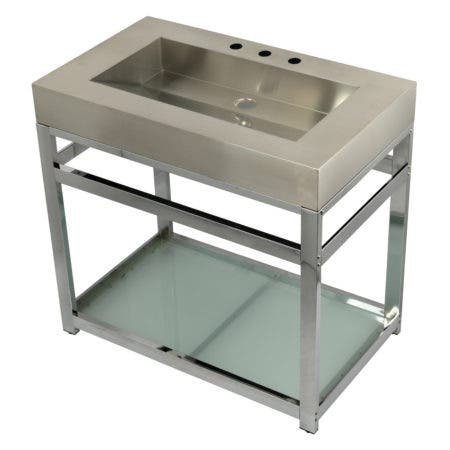"""Kingston Brass KVSP3722B1 Fauceture 37"""" Stainless Steel Sink with Steel Console Sink Base, Brushed/Polished Chrome"""