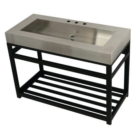 """Kingston Brass KVSP4922A0 Fauceture 49"""" Stainless Steel Sink with Iron Console Sink Base, Brushed/Matte Black"""