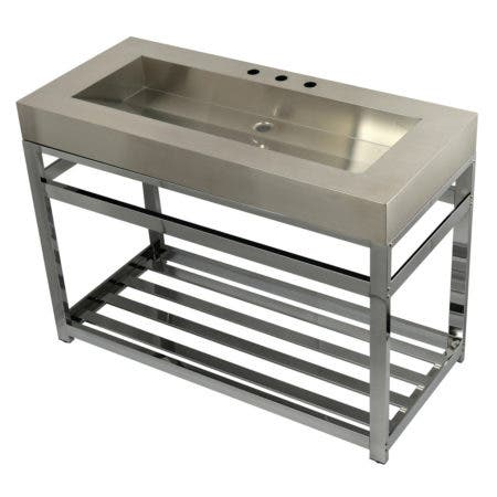 """Kingston Brass KVSP4922A1 Fauceture 49"""" Stainless Steel Sink with Iron Console Sink Base, Brushed/Polished Chrome"""