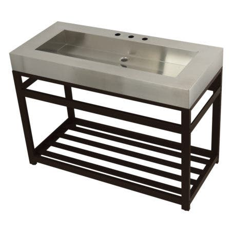 """Kingston Brass KVSP4922A5 Fauceture 49"""" Stainless Steel Sink with Iron Console Sink Base, Brushed/Oil Rubbed Bronze"""