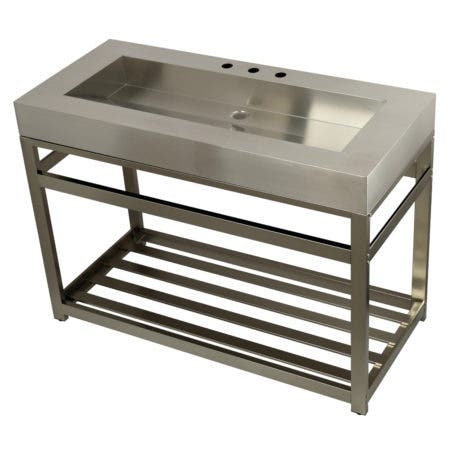 """Kingston Brass KVSP4922A8 Fauceture 49"""" Stainless Steel Sink with Iron Console Sink Base, Brushed/Brushed Nickel"""