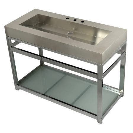 """Kingston Brass KVSP4922B1 Fauceture 49"""" Stainless Steel Sink with Iron Console Sink Base, Brushed/Polished Chrome"""