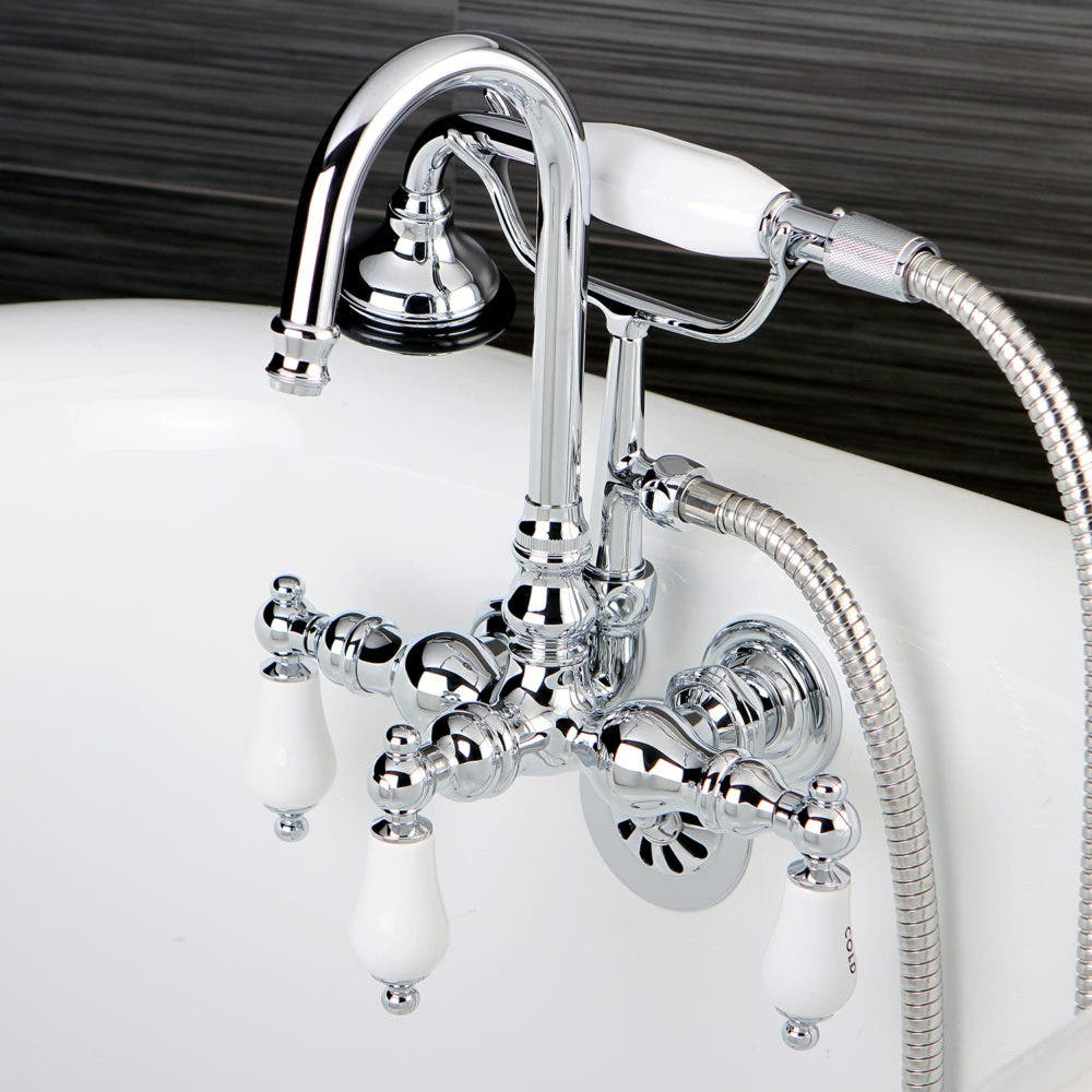 On-tub wall mount faucet