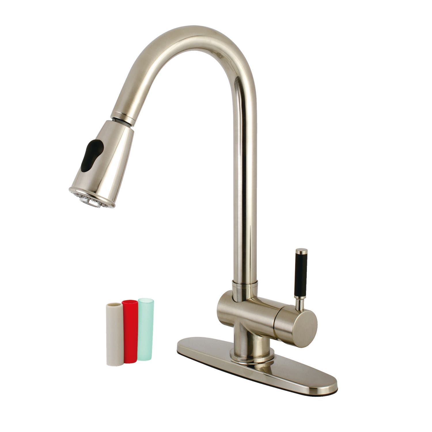 Kingston Brass Gourmetier GS8898DKL Kaiser 8-Inch Center Single Lever Handle Kitchen Faucet with Pull-down Sprayer Brushed Nickel