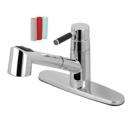 Gourmetier GSC8571DKL Kaiser Single-Handle Pull-Out Kitchen Faucet, Polished Chrome