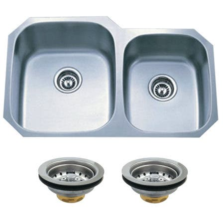 Kingston Brass KGKUD3221 Undermount Stainless Steel Double Bowl Kitchen Sink Combo With Strainers, Brushed