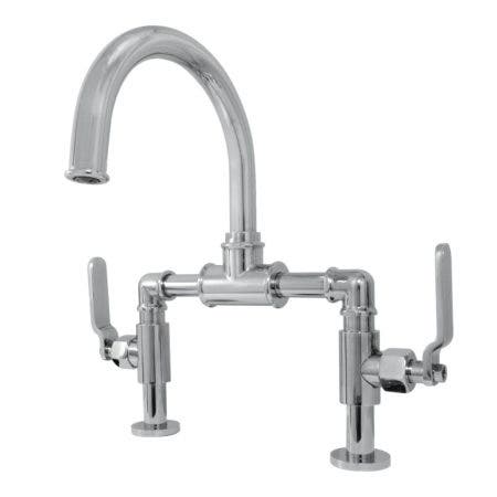 Kingston Brass KS2171KL Whitaker Industrial Style Bridge Bathroom Faucet with Pop-Up Drain, Polished Chrome