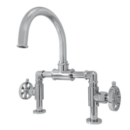 Kingston Brass KS2171RX Belknap Industrial Style Wheel Handle Bridge Bathroom Faucet with Pop-Up Drain, Polished Chrome
