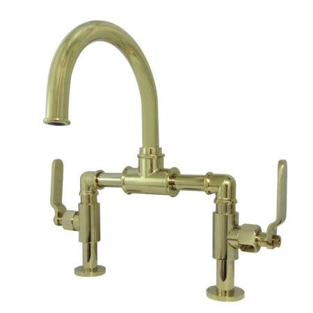 Kingston Brass KS2172KL Whitaker Industrial Style Bridge Bathroom Faucet with Pop-Up Drain, Polished Brass