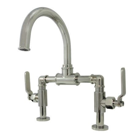 Kingston Brass KS2176KL Whitaker Industrial Style Bridge Bathroom Faucet with Pop-Up Drain, Polished Nickel