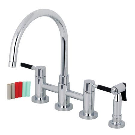 Kingston Brass KS8271DKLBS Concord Two-Handle Bridge Kitchen Faucet with Brass Side Sprayer, Polished Chrome