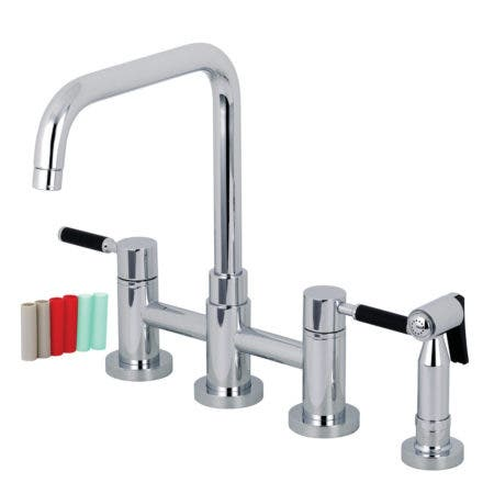 Kingston Brass KS8281DKLBS Concord Two-Handle Bridge Kitchen Faucet with Brass Side Sprayer, Polished Chrome