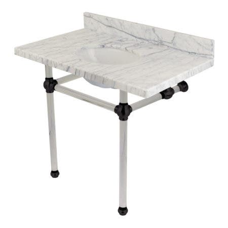 "Kingston Brass KVPB3630MA0 Templeton 36"" x 22"" Carrara Marble Vanity Top with Clear Acrylic Console Legs, Carrara Marble/Matte Black"