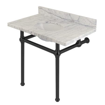"Kingston Brass KVPB3630MB0 Templeton 36"" x 22"" Carrara Marble Vanity Top with Brass Console Legs, Carrara Marble/Matte Black"