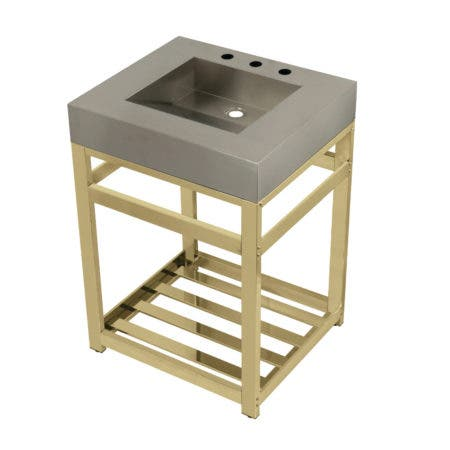 "Kingston Brass KVSP2522A2 Fauceture 25"" Stainless Steel Sink with Steel Console Sink Base, Brushed/Polished Brass"