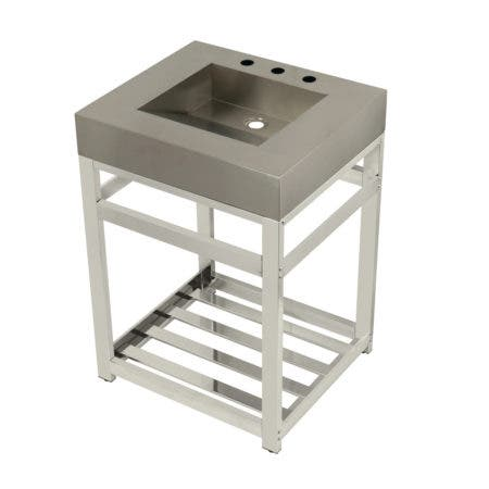 "Kingston Brass KVSP2522A6 Fauceture 25"" Stainless Steel Sink with Steel Console Sink Base, Brushed/Polished Nickel"